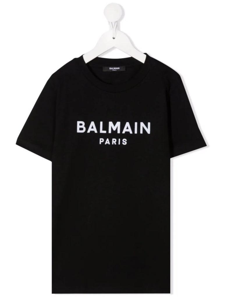 Balmain Kids Black T-shirt With White Velvet Logo