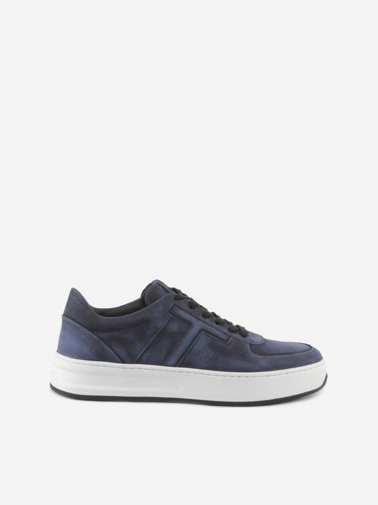 Tod's Blue Nabuk Sneaker In Suede - Dark blue