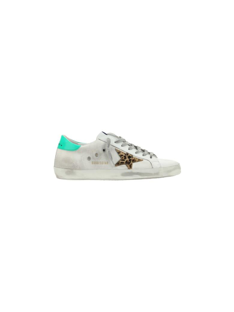 Golden Goose Superstar Sneakers - White/brown/neon green