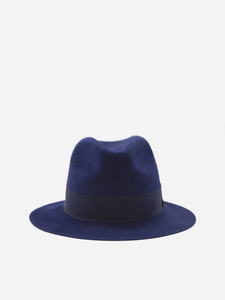 Ruslan Baginskiy Fedora Hat With Grosgrain Ribbon And Monogram Detail - Blue