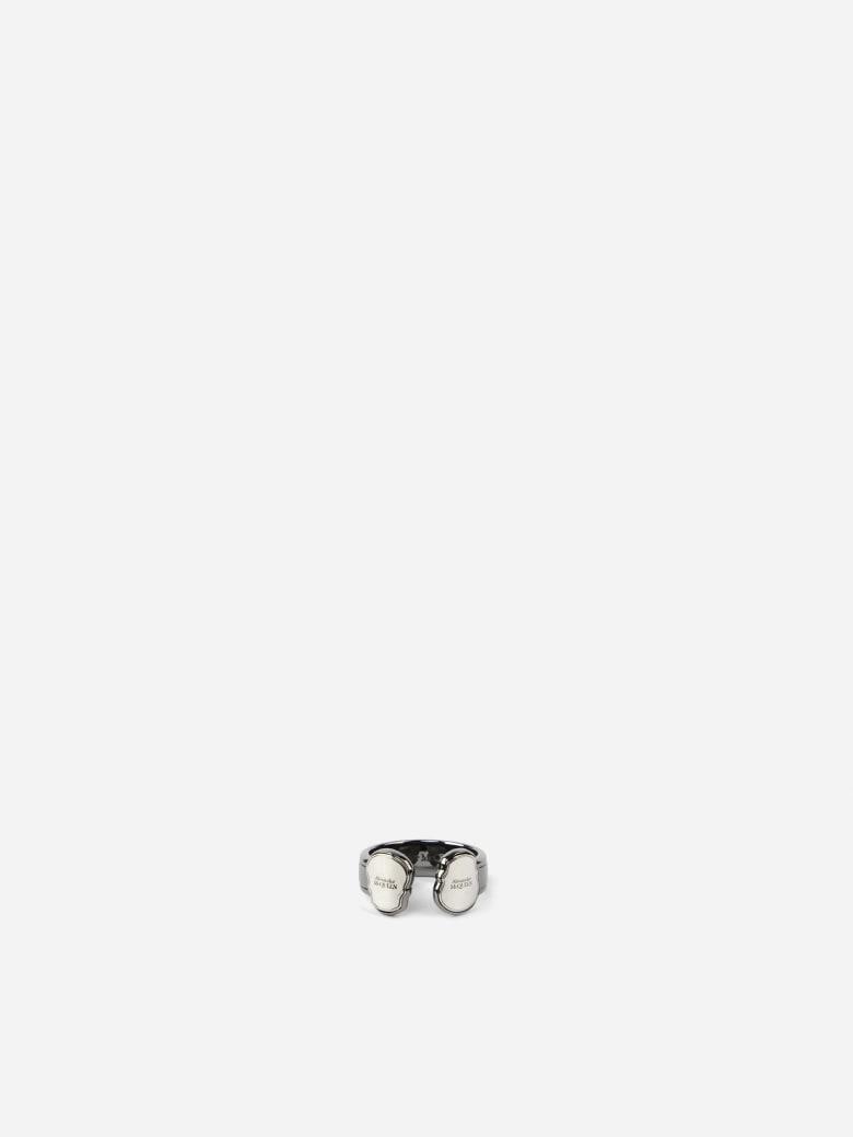 Alexander McQueen Twin Skull Ring In Brass - Silver