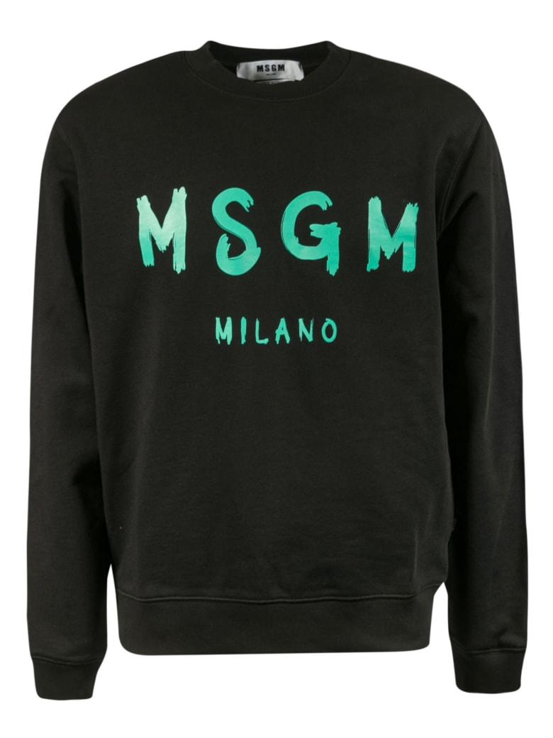 MSGM Logo Print Sweatshirt - Black/Cyan