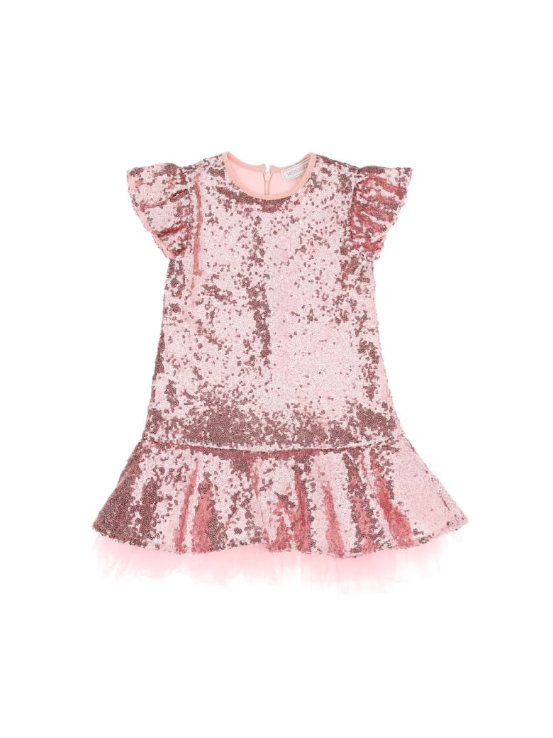 Monnalisa Dress With Paillettes And Tutù - Pink