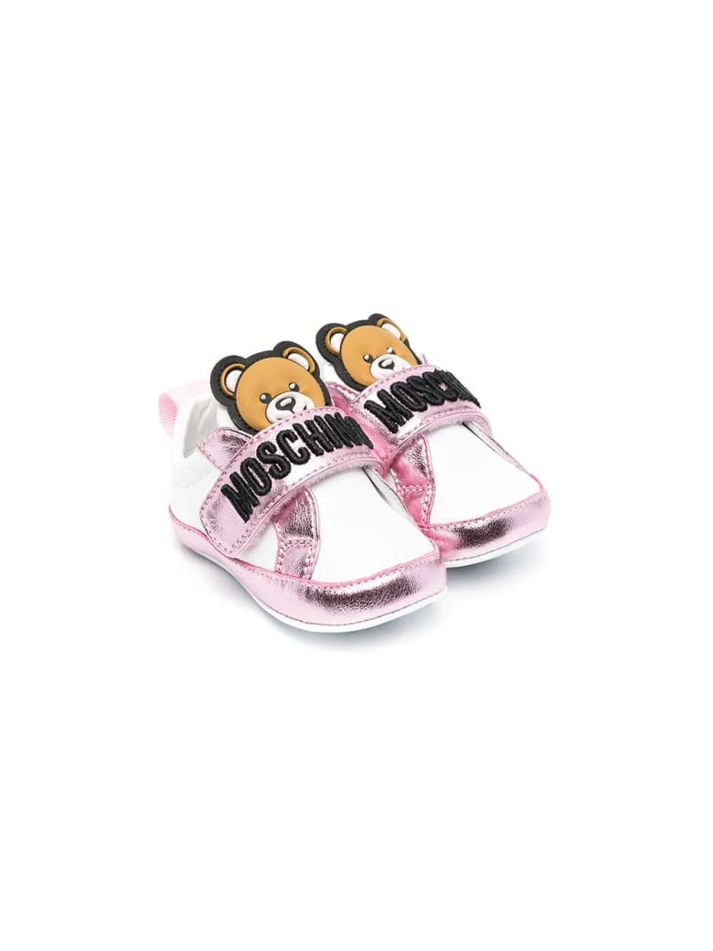 Moschino Cradle Shoes With Teddy Bear - Bianco-rosa