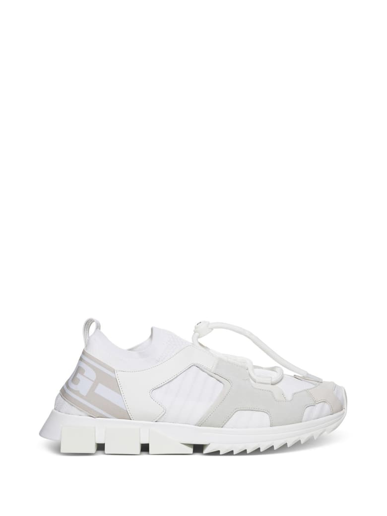 Dolce & Gabbana Sorrento Trekking Sneakers  In Mix Of Materials - White