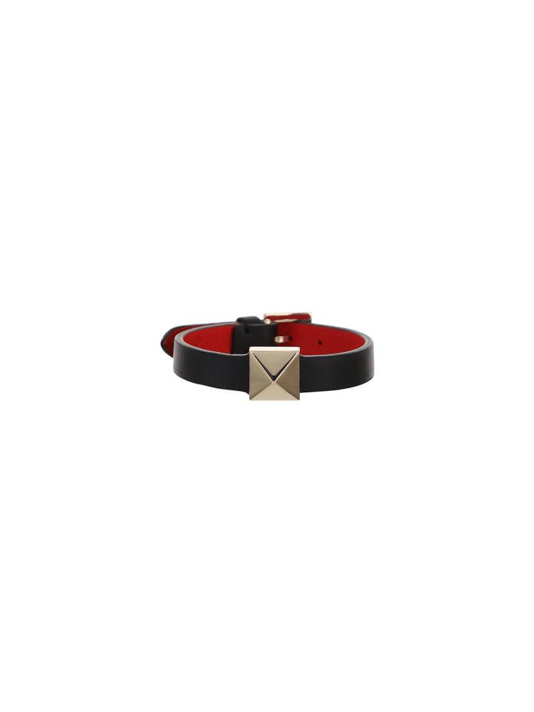 Valentino Garavani Leather Bracelet - Nero/rouge pure