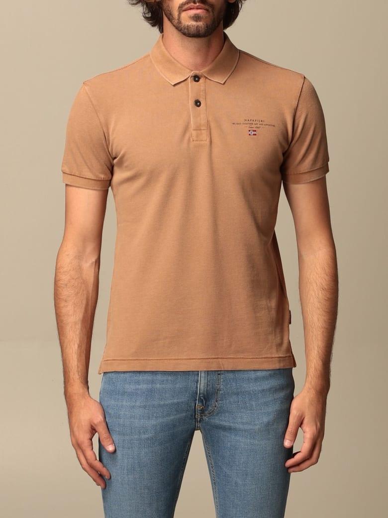 Napapijri Polo Shirt Elbas 4 Napapijri Polo Shirt In Cotton - Beige