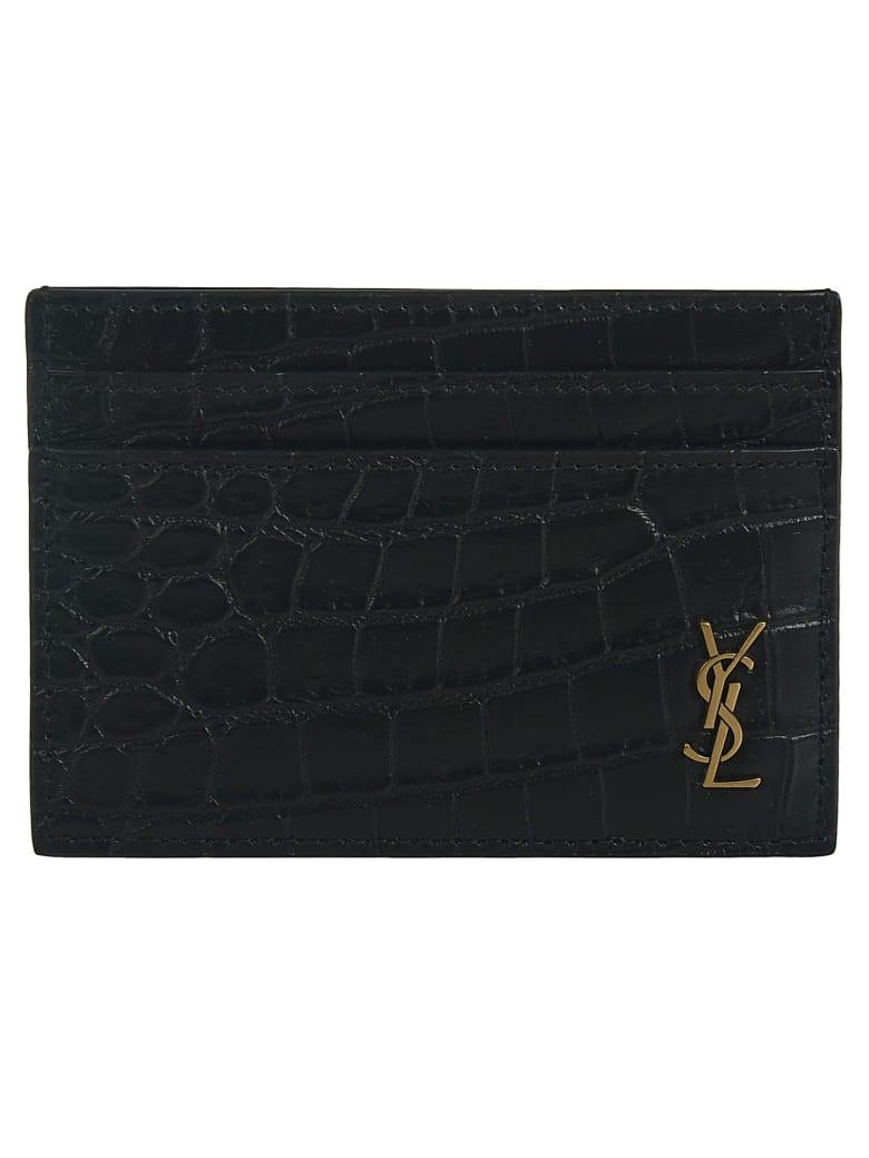 Saint Laurent Croc-skin Effect Logo Plaque Card Holder - Black
