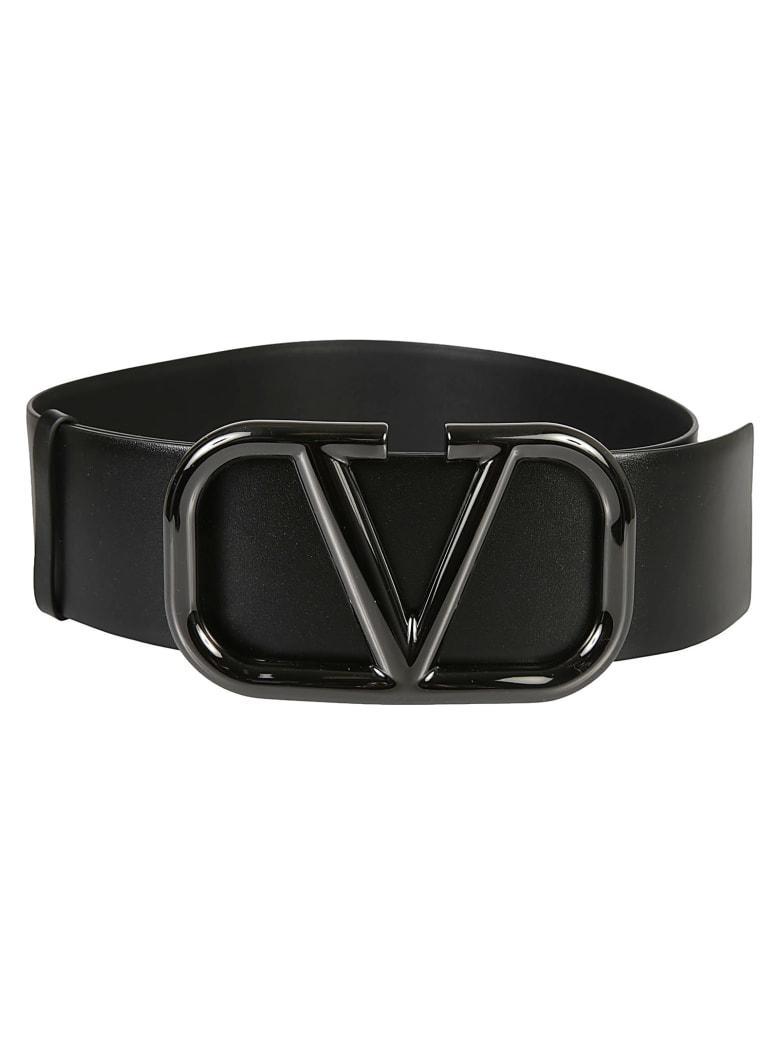 Valentino Garavani Logo Buckle Belt - Black