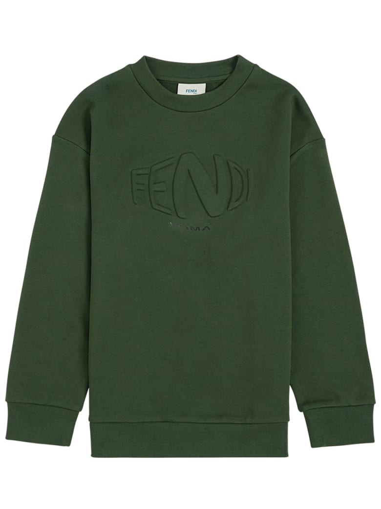 Fendi Green Cotton Sweatshirt With Logo - Green