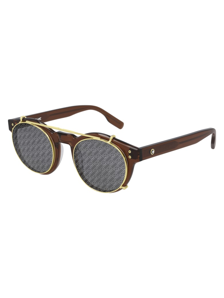Montblanc MB0123S Sunglasses - Brown Brown Silver