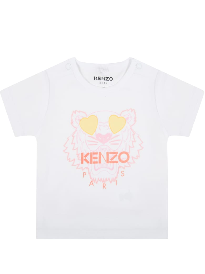 Kenzo Kids White T-shirt For Babygril With Tiger - White