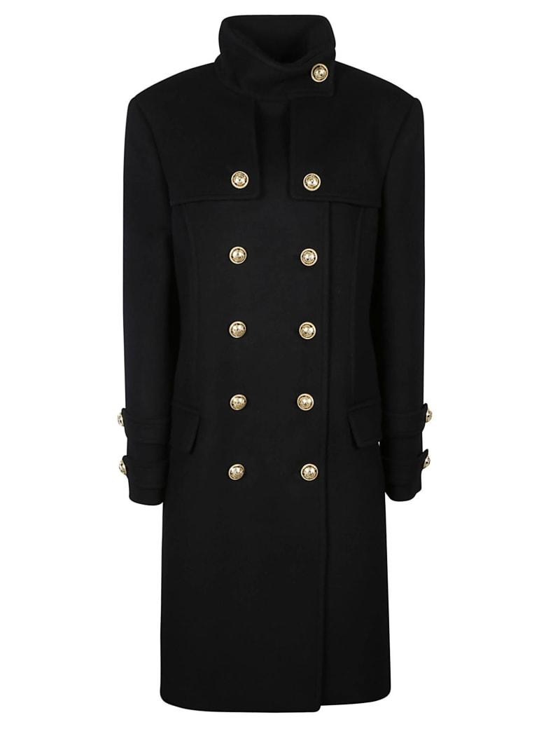 Balmain High-neck Double-breasted Coat - Nero
