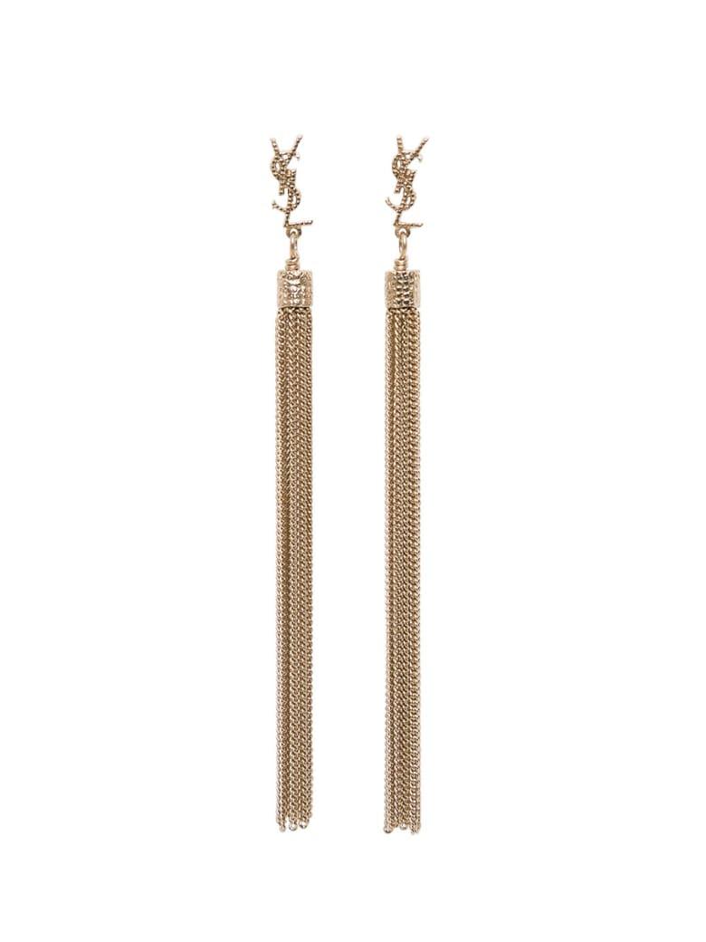 Saint Laurent Loulou Earrings In Golden Brass - Metallic