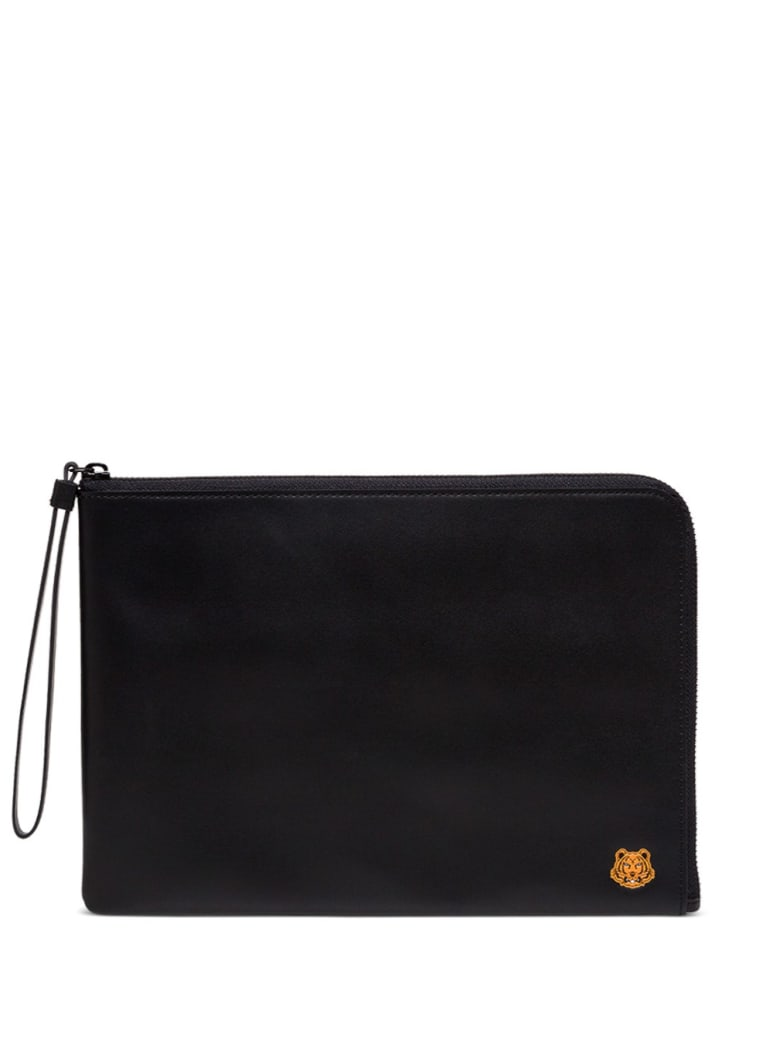Kenzo Leather Clutch With Logo Patch - Black