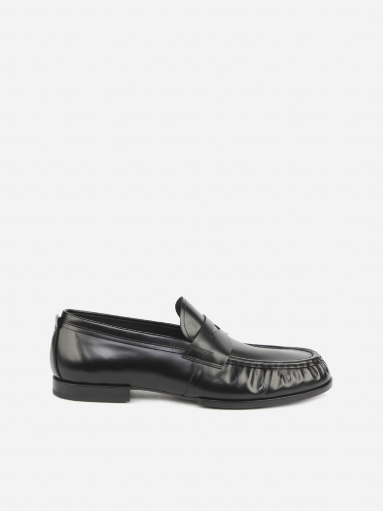 Tod's Leather Loafers With Gathered Finish - Black
