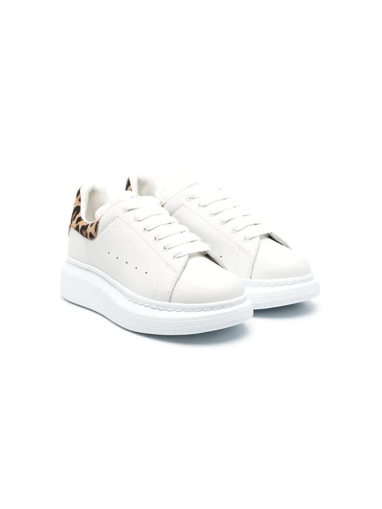 Alexander McQueen Kid White Oversize Sneakers With Leopard Spoiler
