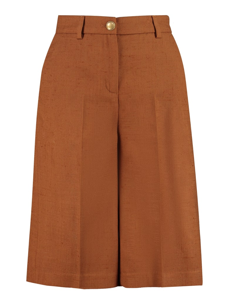 Pinko Ordinato Cotton Blend Bermuda Shorts - brown