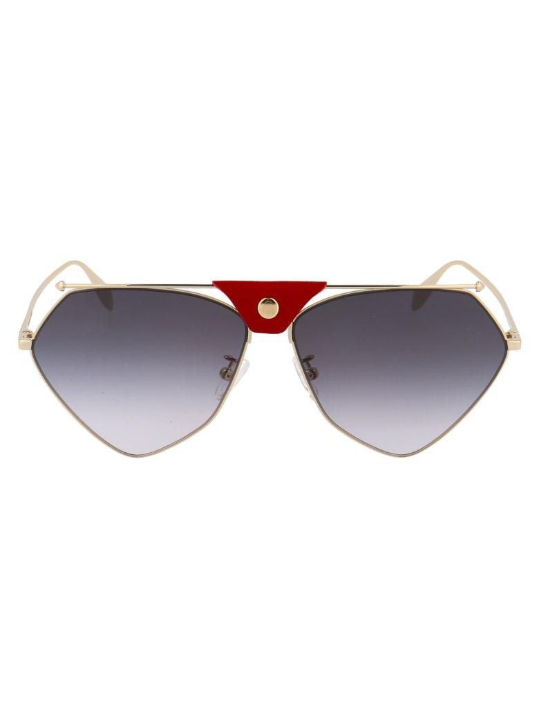 Alexander McQueen Am0317s Sunglasses - 004 GOLD GOLD GREY