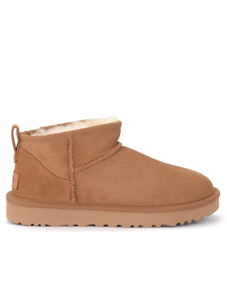 UGG Classic Ultra Mini Ankle Boot Made Of Leather-colored Suede - MARRONE