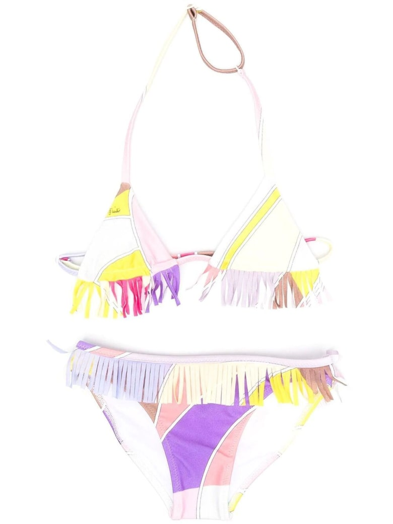 Emilio Pucci Fringed Abstract-print Bikini - Multicolor