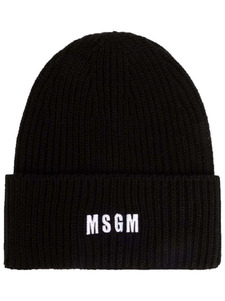 MSGM Black Chunky Knit Hat With Logo - Nero