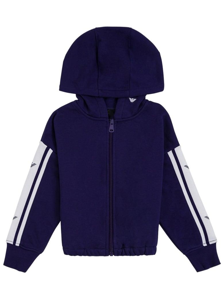 Emporio Armani Blue Cotton Hoodie With Logo - Blu