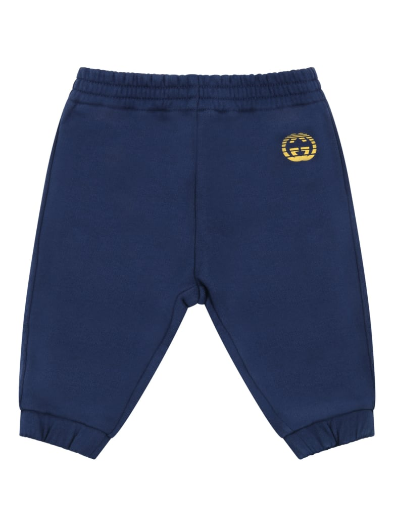 Gucci Blue Sweatpant For Babykids With Double Gg