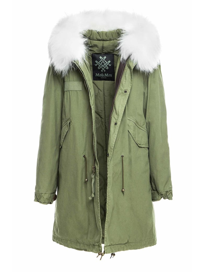 Mr & Mrs Italy Exclusive Fw20 Icon Parka: Army Jazzy Parka Raccoon Fur - WHITE