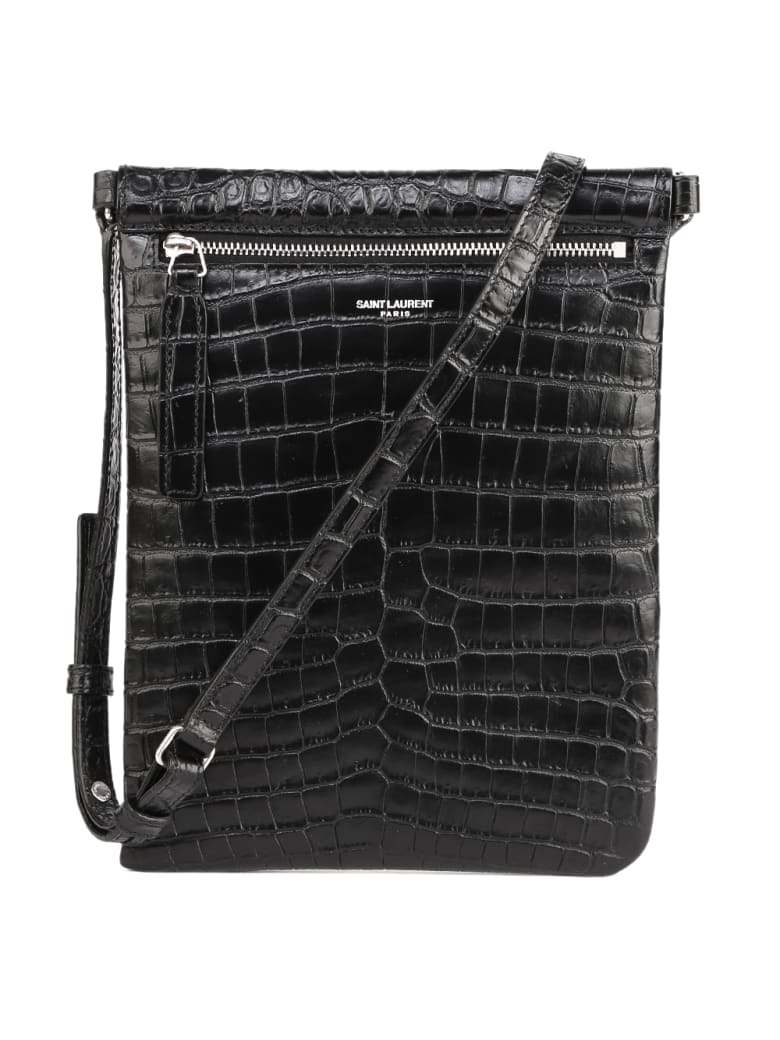 Saint Laurent Black Messenger Bag In Crocodile Printed Leather - Nero