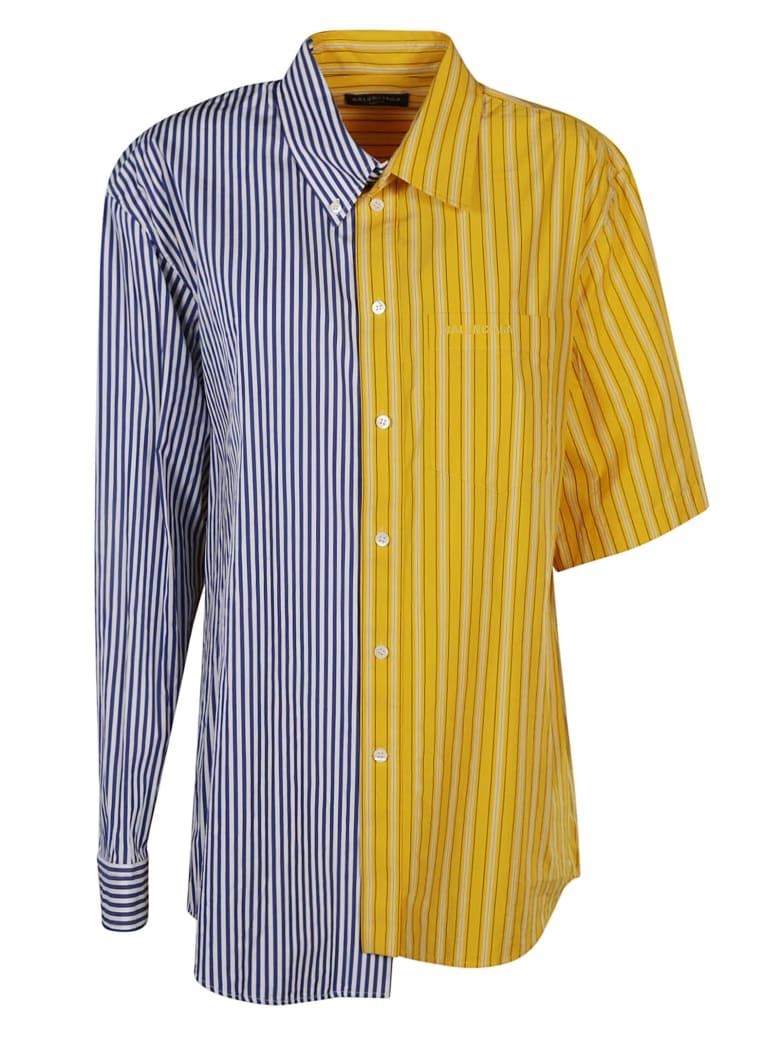 Balenciaga Asymmetric Colourblock Stripe Shirt - Bianco