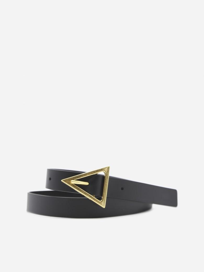 Bottega Veneta Leather Belt With Triangular Buckle - Black