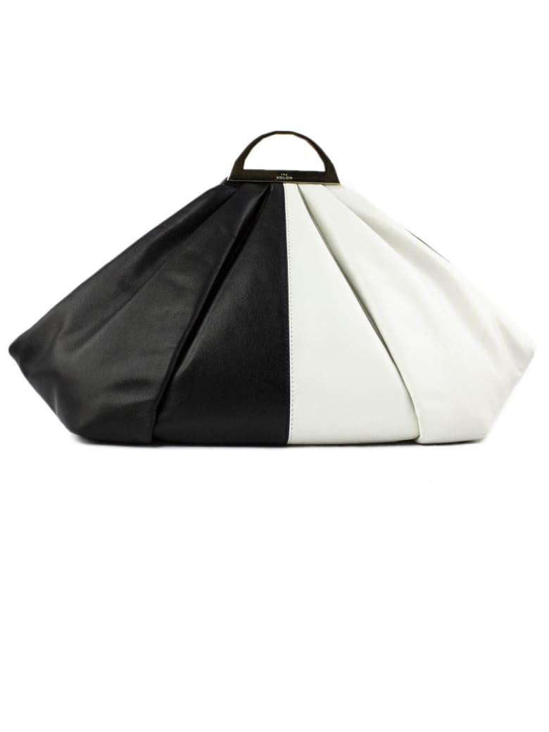 the VOLON White And Black Leather Clutch Bag - Bianco+nero
