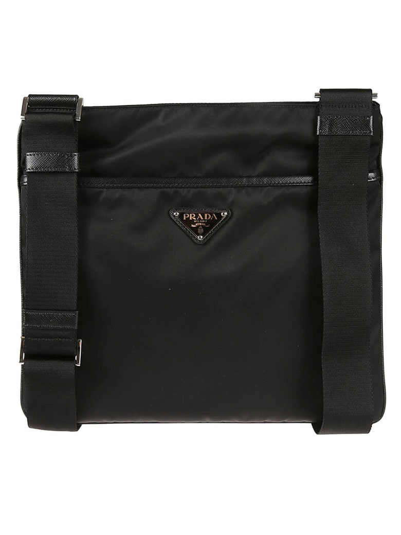 Prada Logo Plaque Messenger Bag - Black
