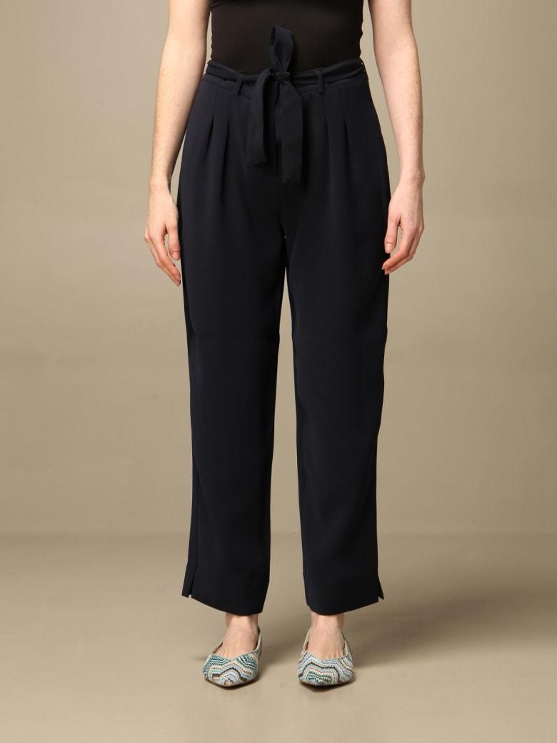 Armani Collezioni Armani Exchange Pants Armani Exchange Wide Trousers With Belt - Blue