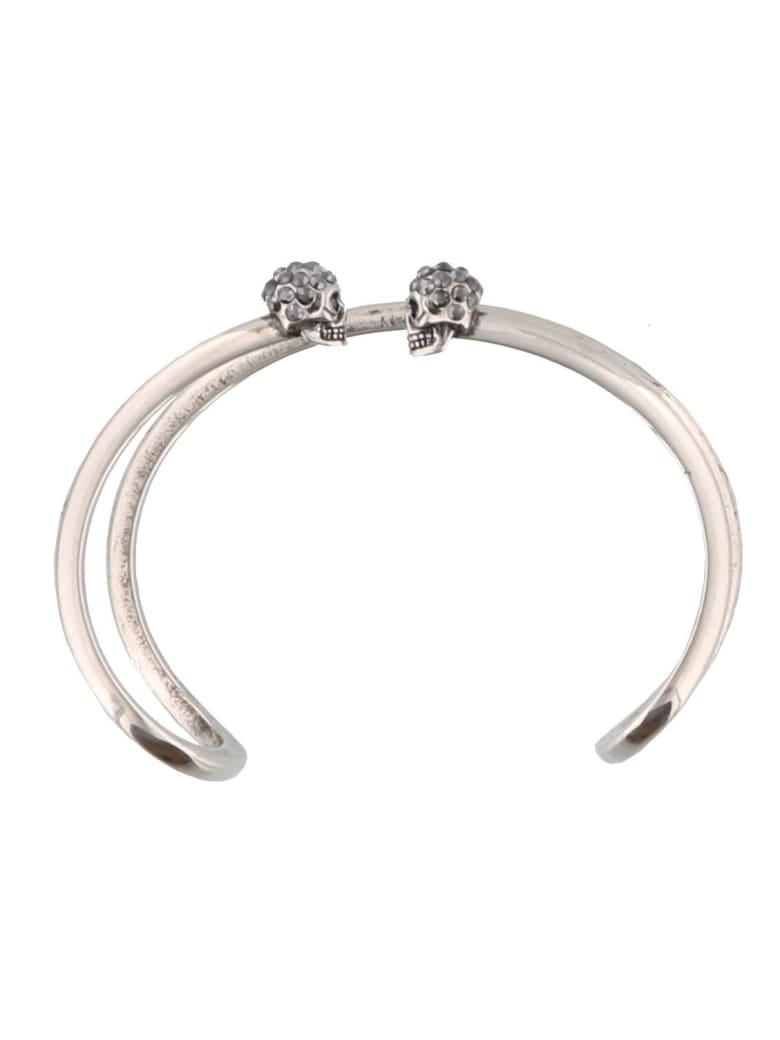 Alexander McQueen Double Thin Skull Bracelet - Silver