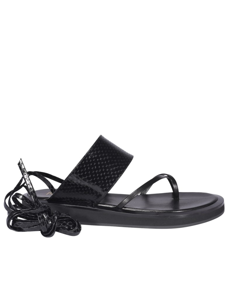 Paris Texas Brooklyn Lace Up Sandals - BLACK