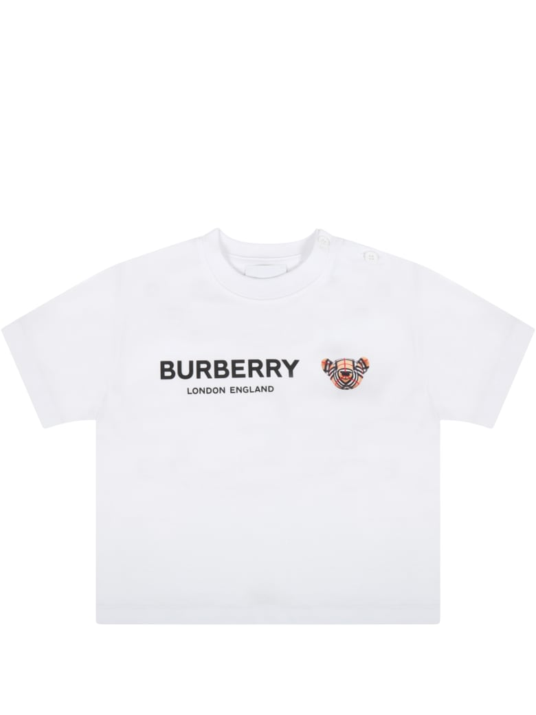 Burberry White T-shirt For Baby Kids With Logo - White