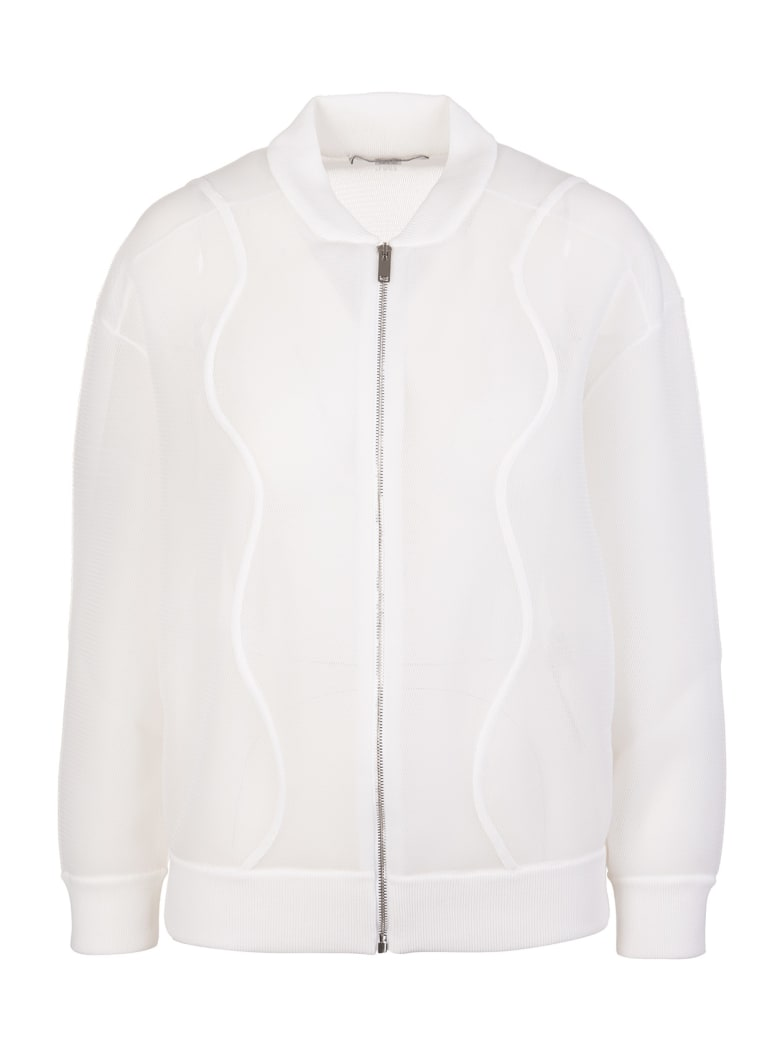Stella McCartney Woman White Mesh Bomber Jacket - Pure white