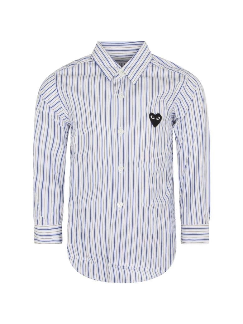 Comme des Garçons Play Striped Shirt For Kids With Iconic Logo - Light Blue