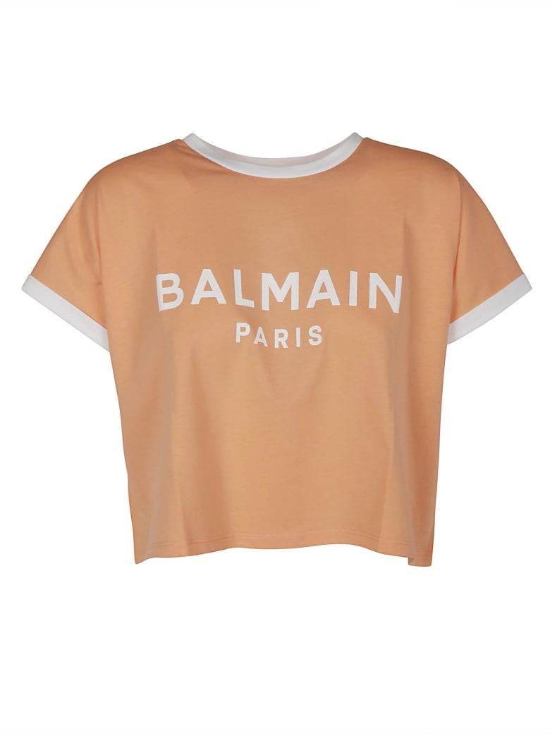 Balmain Cropped Logo Printed T-shirt - Pesca