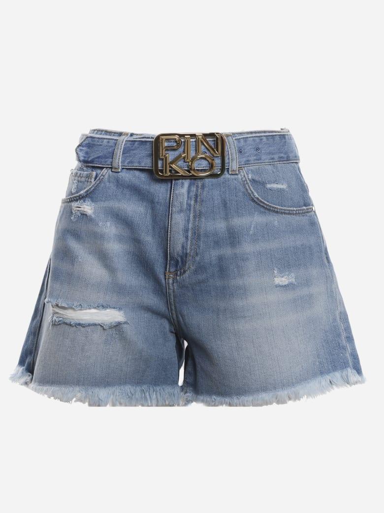 Pinko Cotton Denim Shorts With Fringed Hem - Blue