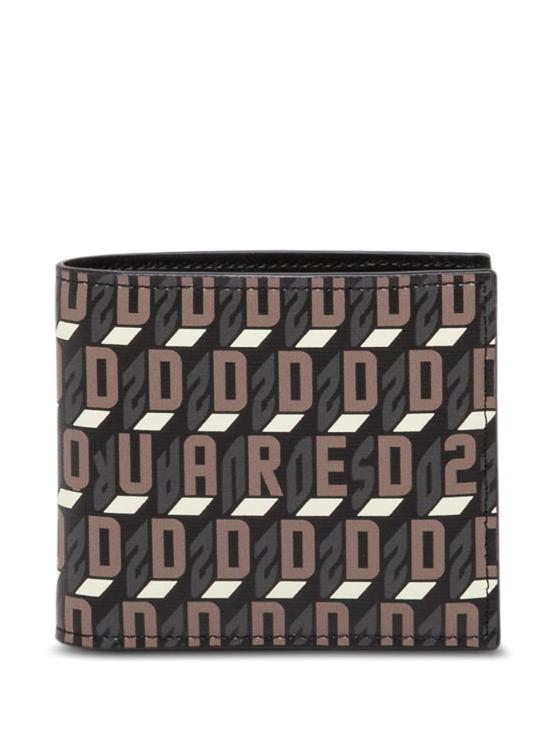Dsquared2 Bifold Leather Wallet With Logo - Brown
