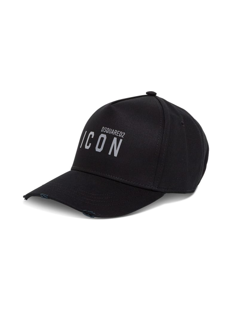 Dsquared2 Icon Hat In Black Jersey - Black