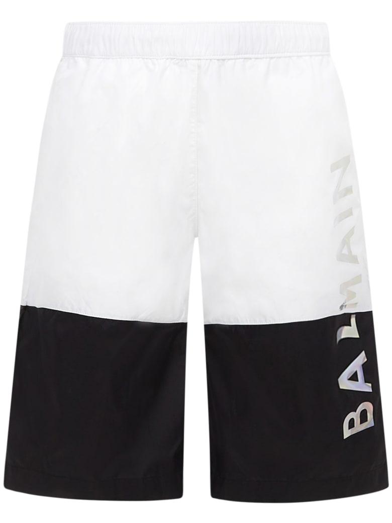 Balmain Paris Kids Swimsuit - White