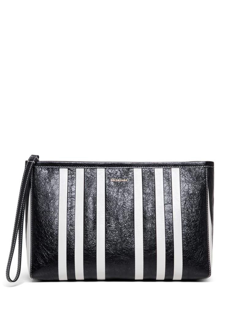 Balenciaga White And Black Barbes Leather Handbag  With Logo - White/black