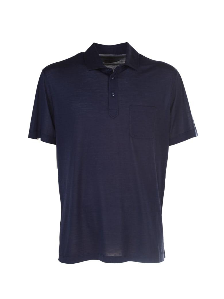 Brunello Cucinelli blue silk polo shirt - Blu
