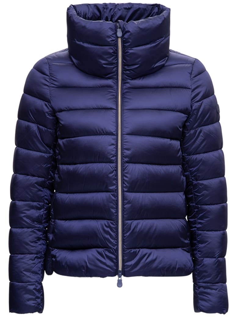 Save the Duck High Neck Ecological Blue Down Jacket - Blu