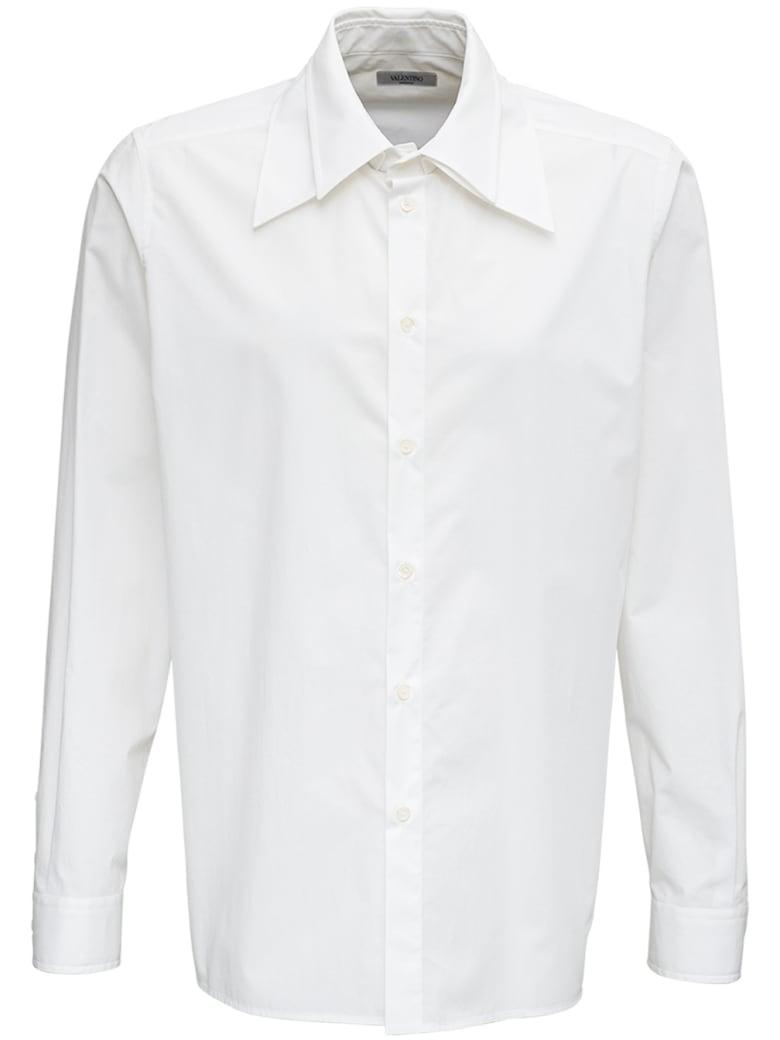 Valentino White Cotton Poplin Shirt - White