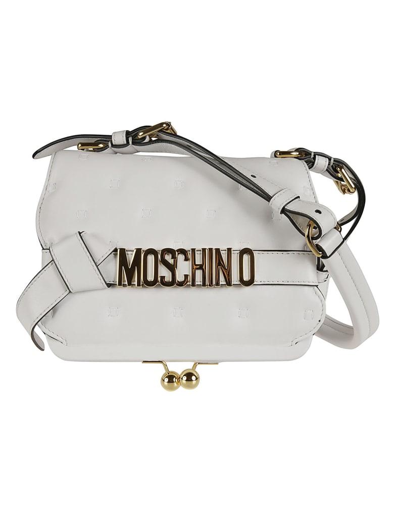 Moschino Stitch Detail Logo Plaque Flap Shoulder Bag - White